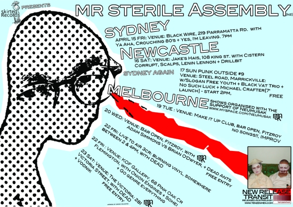mr sterile Assembly Australian tour poster April 2011